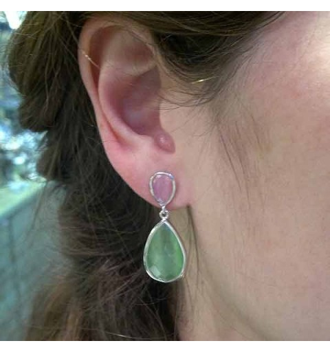 Pink and green silver earrings