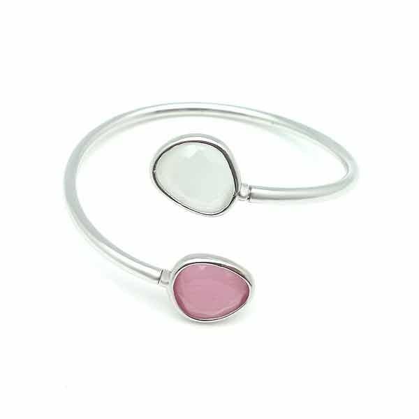 Pulsera plata rosa y blanca