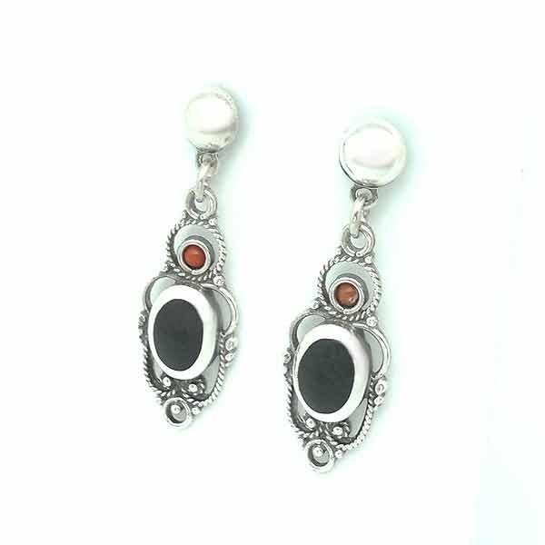 Oval jet earrings