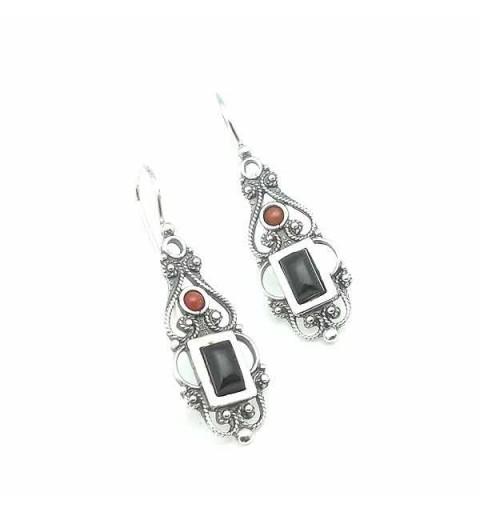 Rectangular jet earrings