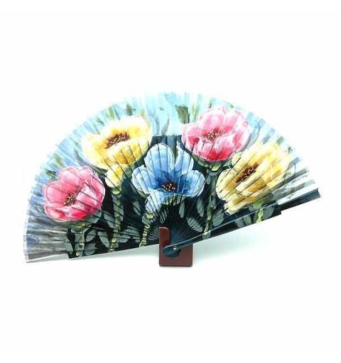 Abanico azul con flores
