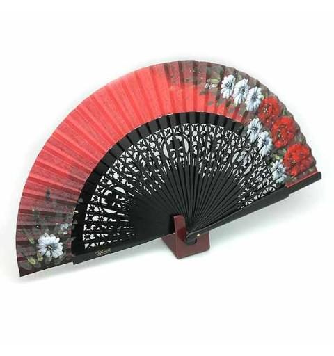 Open red fan