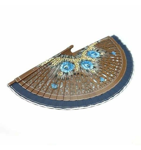 Brown and blue fan