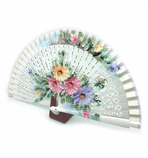 Abanico flores blanco