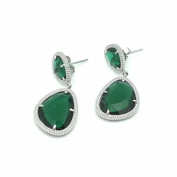 Silver earrings  green