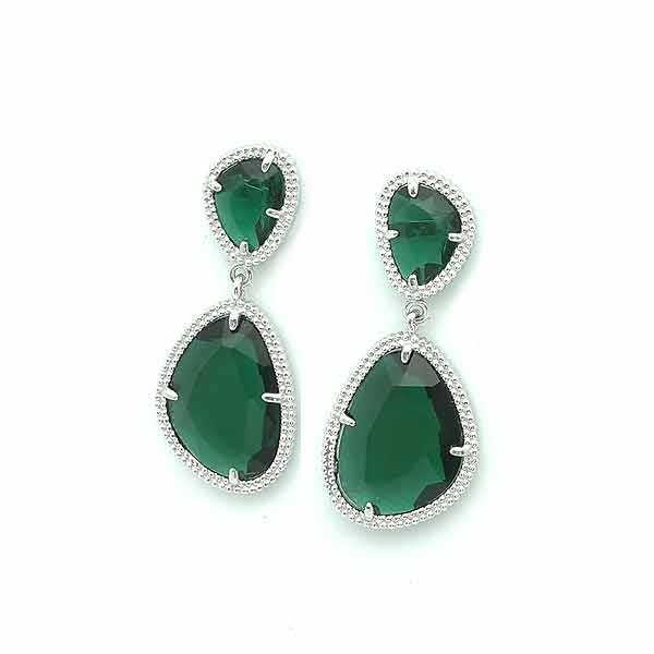 Silver earrings  green