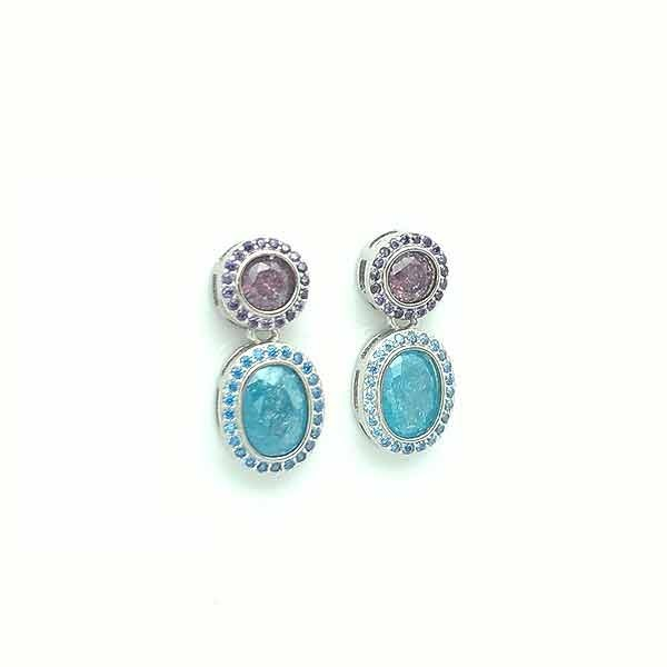 Blue and purple zirconia earrings