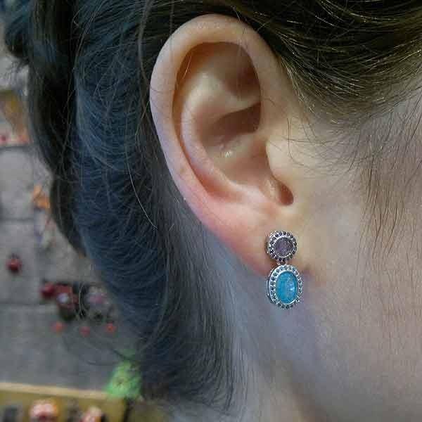 Pendientes circonitas azul y morado