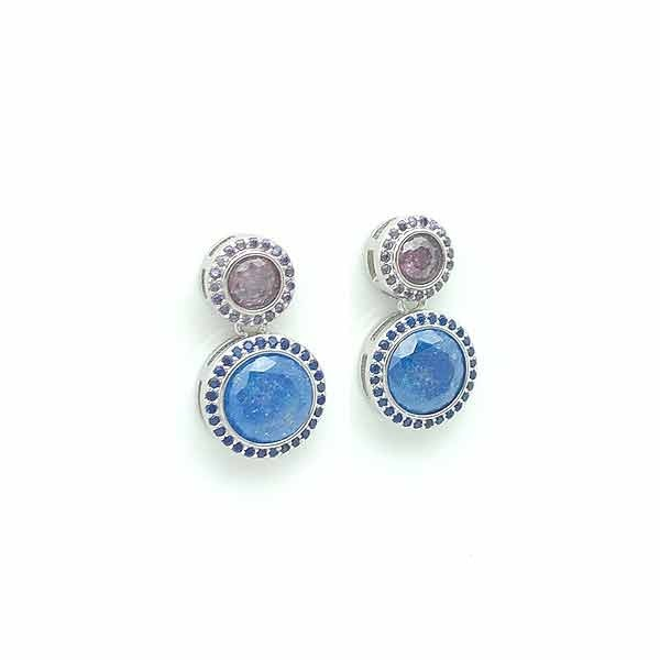 Zirconia blue round earrings