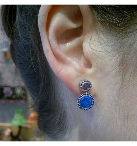 Zirconia blue round earrings