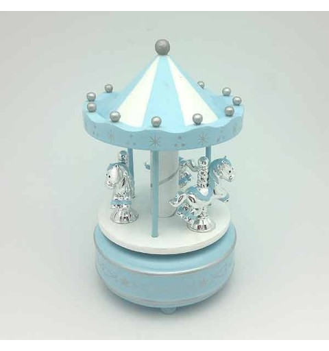 Carousel with ponies, blue