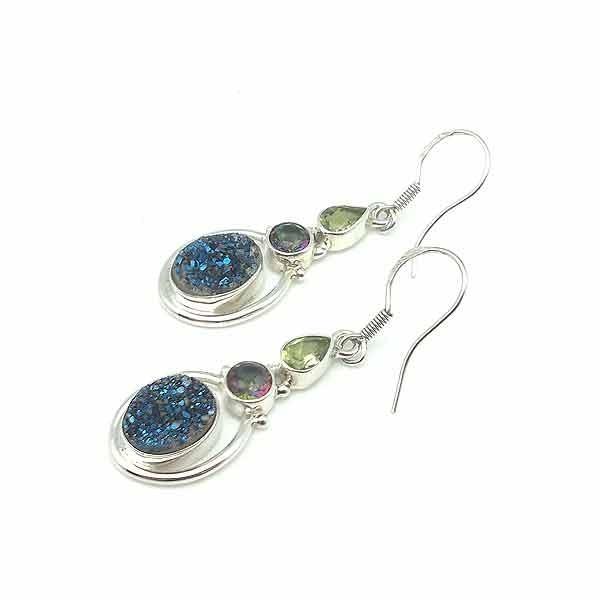 Agate druzy oval earrings