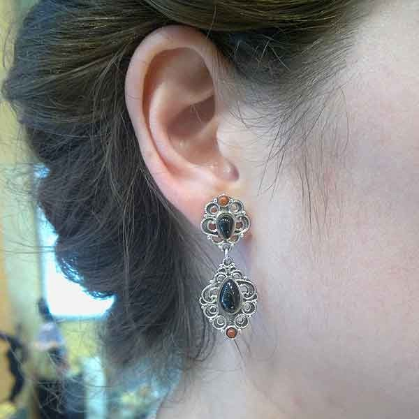 Jet earrings silver and gold