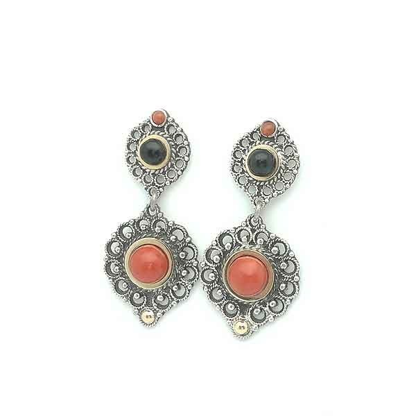 Coral earrings silver and gold