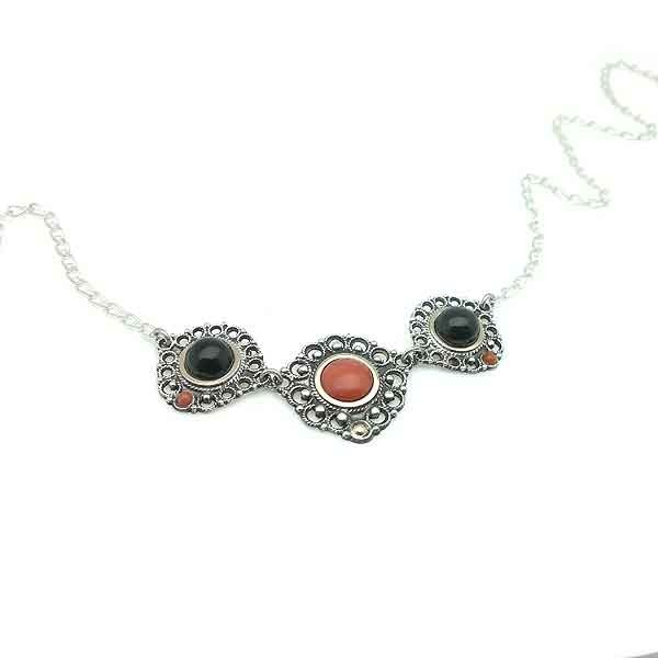 Choker coral silver and gold