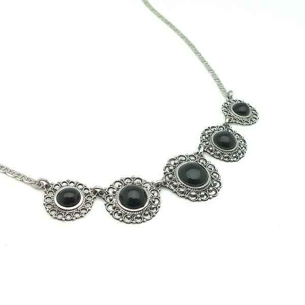 Silver and jet necklace