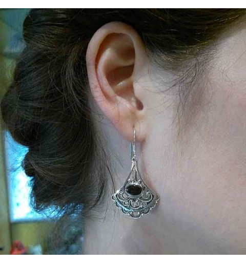 Jet and fligree earrings