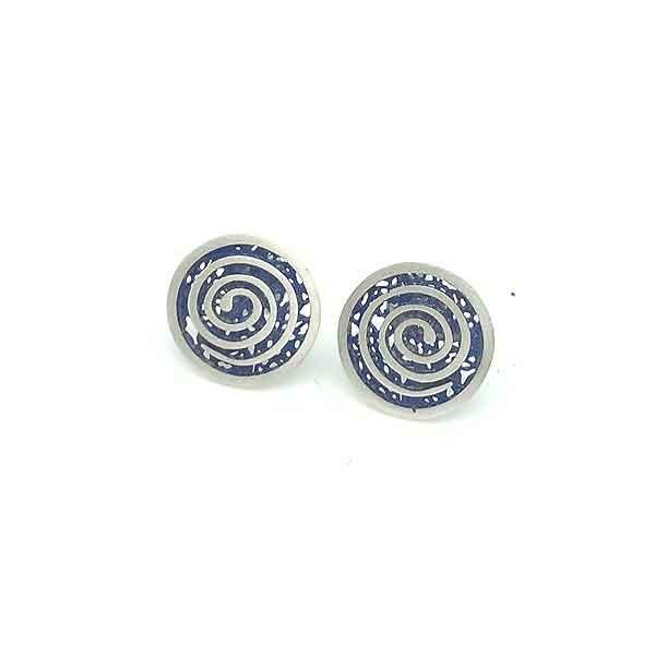 Blue spiral earrings