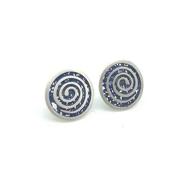 Pendientes espiral azul