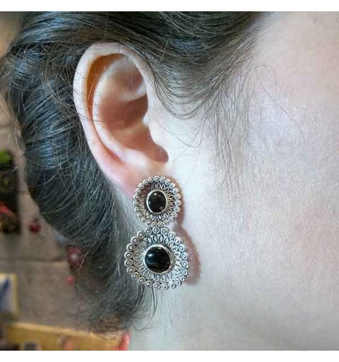 Long silver and jet earrings