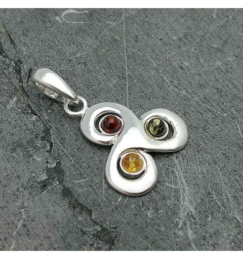 Silver and amber trisquel