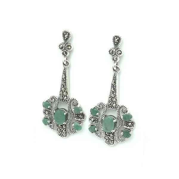 Pendientes plata y esmeralda