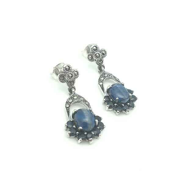 Silver and sapphire earrings