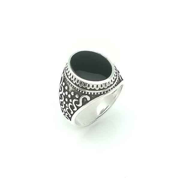 Silver and jet unisex ring