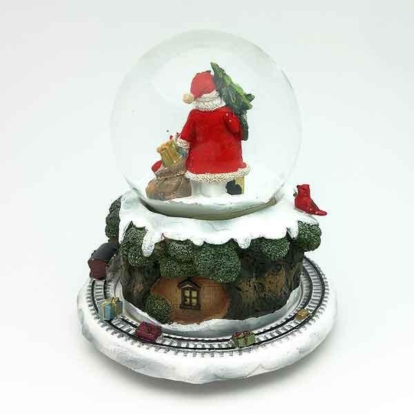Snowball santa claus with train