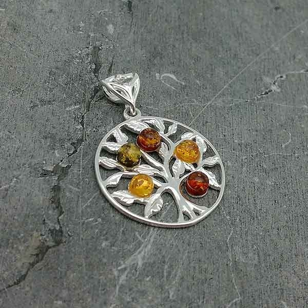 Tree life with amber pendant