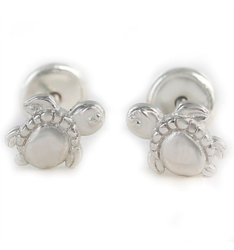 Earrings for baby, with baby turtles, in sterling silver.