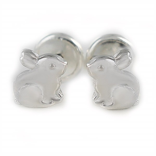 Baby earrings, bunny, in sterling silver.