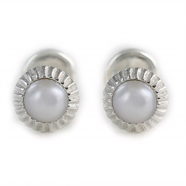 Earrings in silver and pearl for baby
