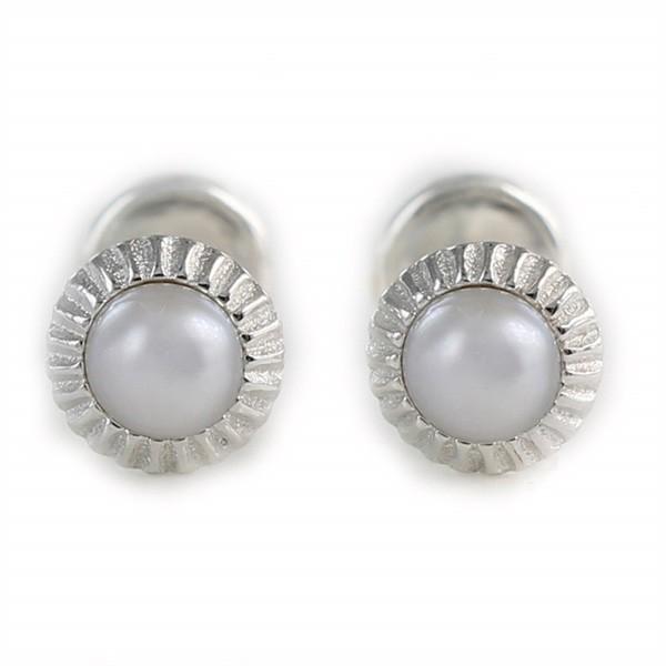 Pendientes en plata y perla para bebé