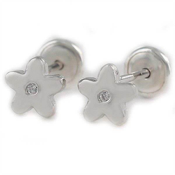 Silver earrings baby flower shape.