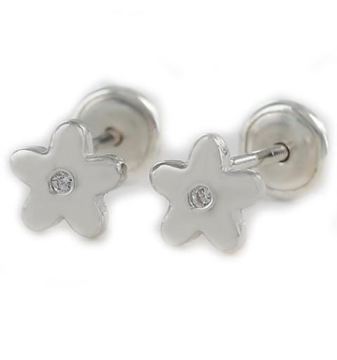 Pendientes plata bebé forma flor.
