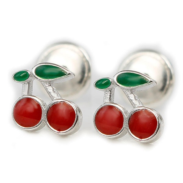 Earrings shape cherry, for baby.