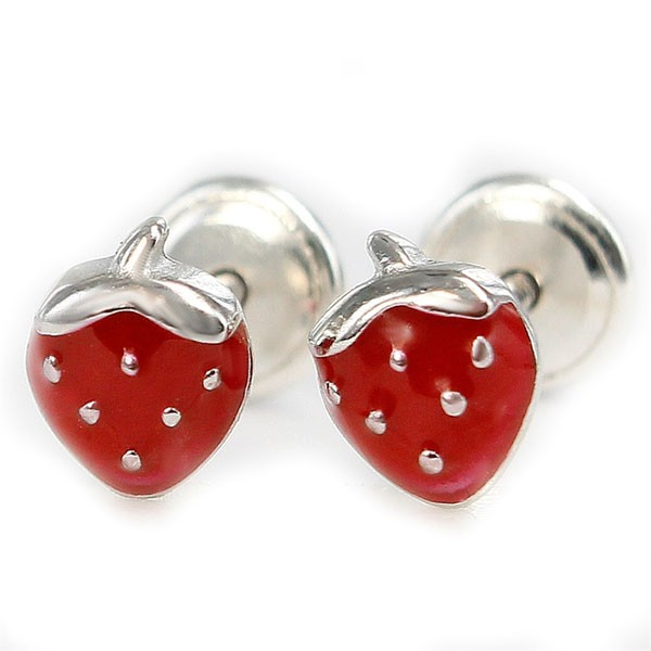 Earrings for baby, shaped like strawberry.