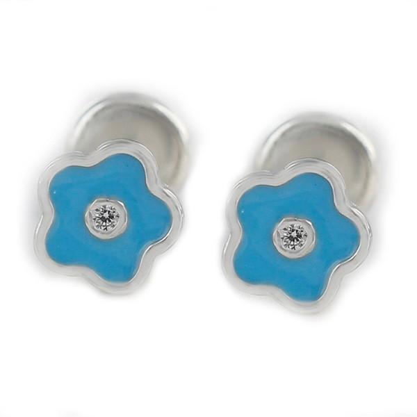 Pendientes con forma de flor para bebé, en plata de ley.