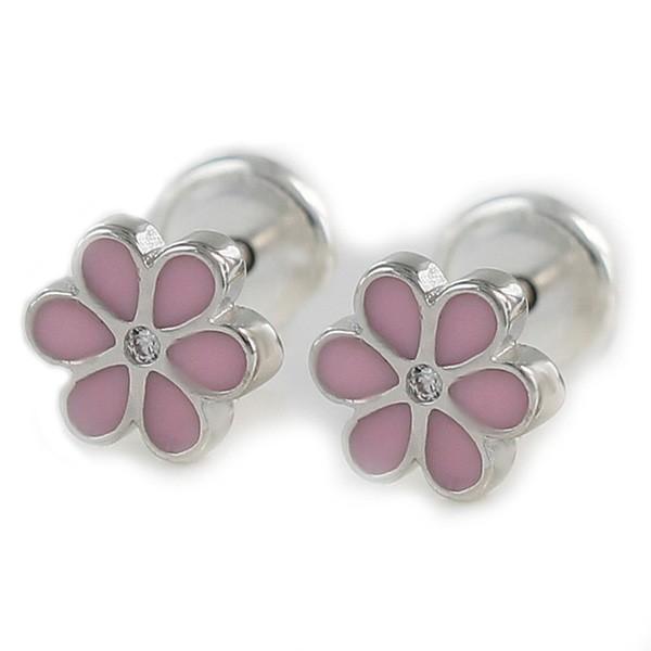 Baby earrings in the shape of a flower.
