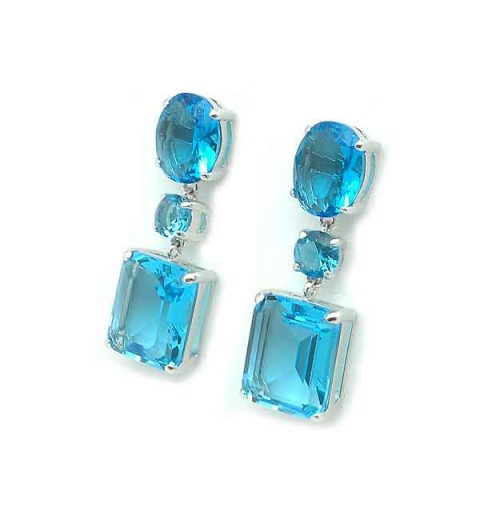 Silver earrings and zircons, aquamarine tone.