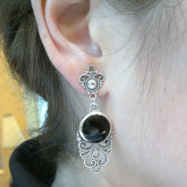 Handmade earrings in sterling silver and jet
