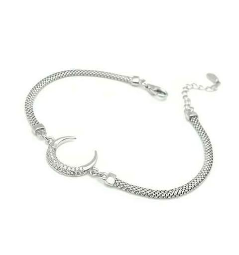 Moon bracelet with zircons