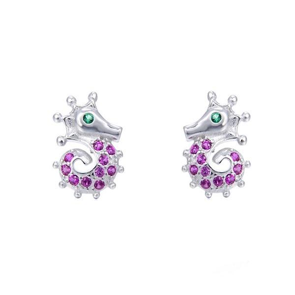 Pink seahorse earrings