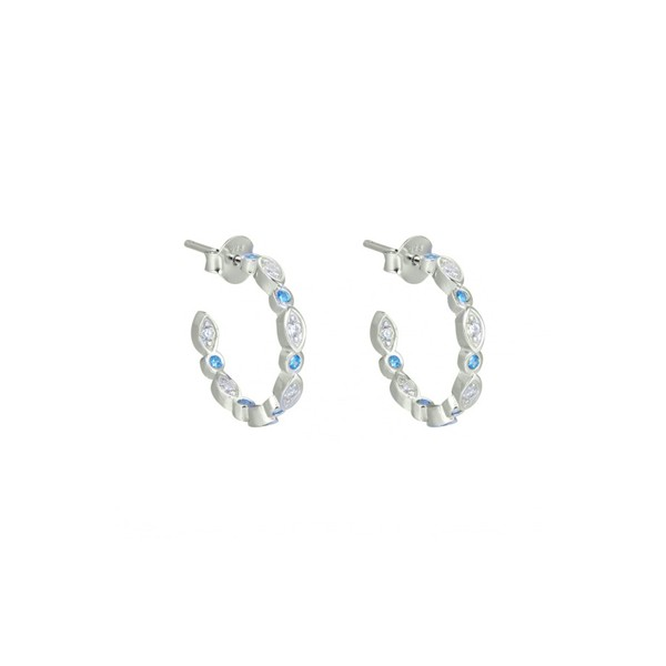 Small blue hoops earrings