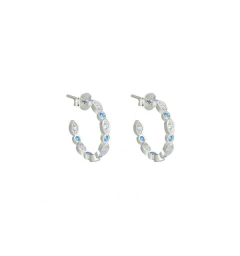 Small blue hoops earrings