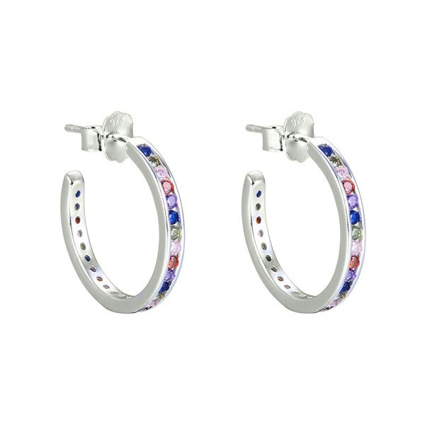 Zirconia hoop earrings color