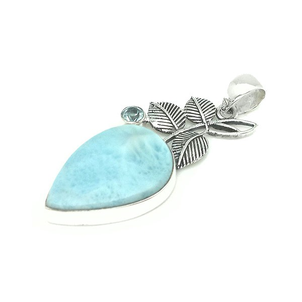 Larimar pendant leaves