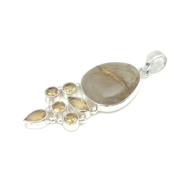 Rutilated quartz and citrine pendant