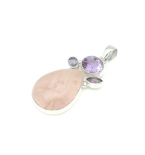 Quartz and amethyst pendant